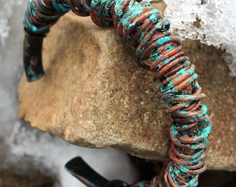 Copper Cuff Bracelet - rustic wired wrapped earthy primitve red and turquoise patina jewelry