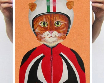 Fantasy Cat Print, Cart Artwork, print from original painting by Coco de Paris: Cat with helmet