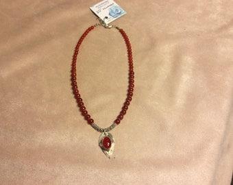 Carnelian necklace with Sterling silver &carnelian pendant