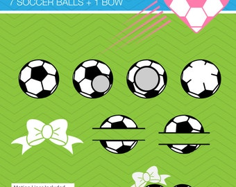 Soccer Ball Set Frame and bow monogram DXF SVG football  for Cricut Design, Silhouette studio, Sure Cuts A, Makes the Cut, instant Download
