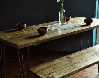 Reclaimed Wood Dining Table & Bench Industrial Rustic Vintage Scaffold Wood Table Scaffold Board Furniture Hairpin legs Bespoke Dining set