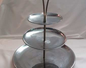 1960s Mid Century Modern Kromex Silver Chrome Three Tiered Serving Tray