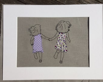 Framed stitched picture - 'sisters' , free motion embroidery using raw edge appliqué, textile wall art