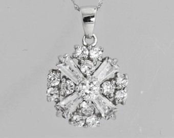 Snowflake Pendant Silver Jewelry Diamond Necklace Silver Necklace