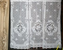 """Laura Roses white Cotton Lace Curtain Panel to finish- 40"""" wide x 35"""" long shop display sample soiled"""
