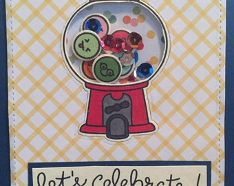 Let's Celebrate Bubble Gum Machine Shaker Card