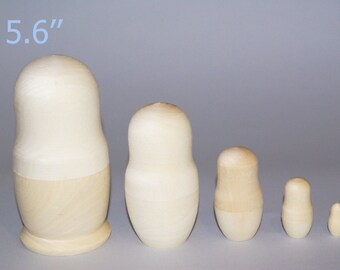 Blank Unpainted Matryoshka Nesting Doll 5 Pieces Set, Set of three Blank Nesting dolls