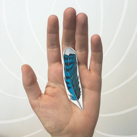 Feather Tattoo, Blue Jay Feather, Blue Striped Feather Tattoo, Bird Feather Temporary Tattoo, Nature Tattoo