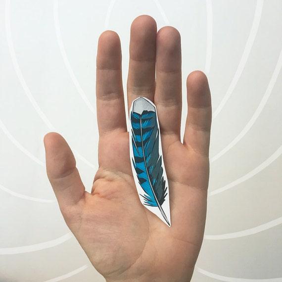 Blue Jay Feather Temporary Tattoo, Bird Feather Nature Tattoo