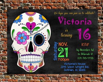 birthday invitation skull birthday invitation colorful birthday invite girls birthday party teen birthday party invite digital print tween