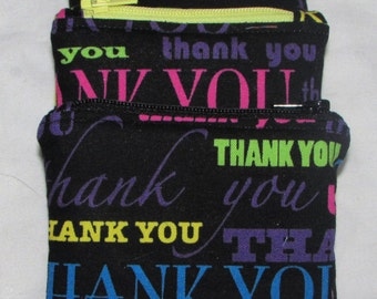 Gift Card Holder Zipper Pouch in Thank You Fabric, Coin Purse, Earbud Pouch