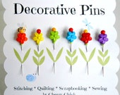 Decorative Sewing Pin - Quilt Pins - Gifts for Quilter - Push Pin - Scrapbooking Pin - Bulletin Board Pin - Quilting Pin - Embellishment Pin