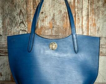 Blue Tote Bag with Shoulder Straps