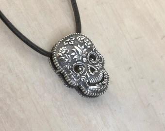 Sterling Silver Skull Indian Hindustani Sugar Skull Necklace Skull Pendant Skull Locket Skull Jewelry Skull Sharm