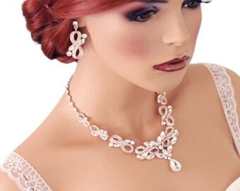 ROSE GOLD Bridal Necklace Set, Crystal necklace set, Wedding jewelry set, Rose Gold Statement necklace, Crystal wedding jewelry, 1S0157RG