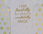 I am fearfully and wonderfully made - metallic gold onesie