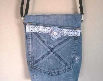 Upcycled denim over the shoulder messenger bag.