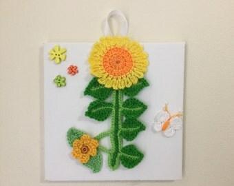 Crochet flowers,  canvas wall art, nursery decor, flower on canvas, kids room wall art