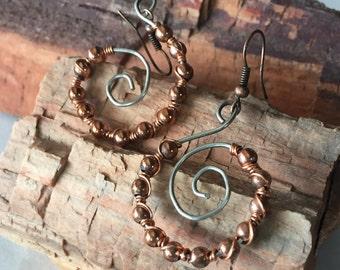Copper and Silver Swirl Earrings