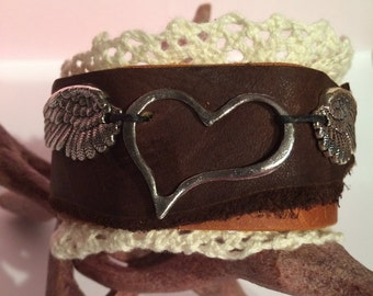 Love Gives You Wings Leather Cuff Bracelet
