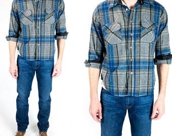 Vintage 1960s Blue Heather Grey Green Plaid Wool Flannel Western Wear Button Down Shirt Size M Medium L Large