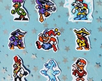 Darkwing Duck Vinyl Pixel Sprite Stickers - set of nine (9)