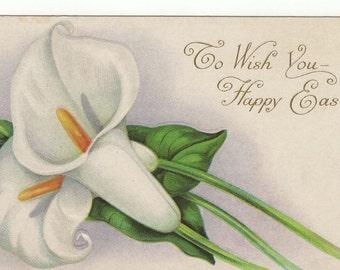 vintage Easter Postcard: Stecher Litho W/Calla Lilies