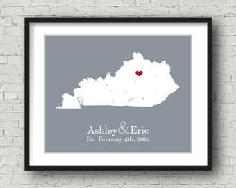 Kentucky Wall Art Kentucky Art Kentucky Gifts Kentucky Sign Custom Map Art Print Poster Printable Personalized State Map Heart Love Unique