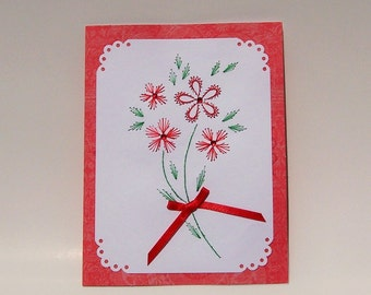 Hand Stitched Red Flower Bouquet Note Card