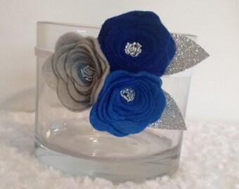Dark Blue- 3 Flower Headband
