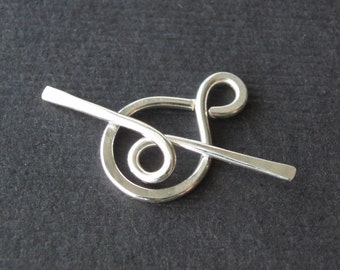 shiny silver toggle clasp plain simple sterling silver
