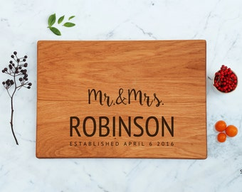 Personalized Wood Cutting Board Bride & Groom Mr and Mrs Wedding Gift Ideas Custom Engraved Couple Last Name Established Family Friends Gift