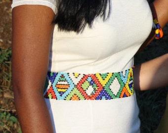 Multicoloured zulu african print waist-belt