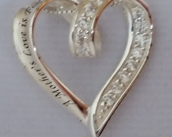 Vinage Necklace, Sterling Heart and CZ Accents