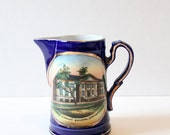 Antique Carnegie Library Cobalt Blue Souvenir Pitcher