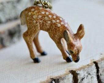 Hand Painted Porcelain Deer Necklace, Antique Bronze Chain, Vintage Style Fawn, Ceramic Animal Pendant & Chain (CA085)