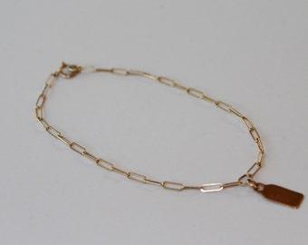 14K gold tag bracelet