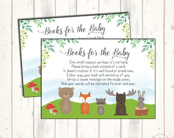 Woodland Baby Shower Insert Card. Bring a Book Instead of a Card. Forest Books for Baby Card. Woodland Animals Fox Bear Book Request. WOOD7