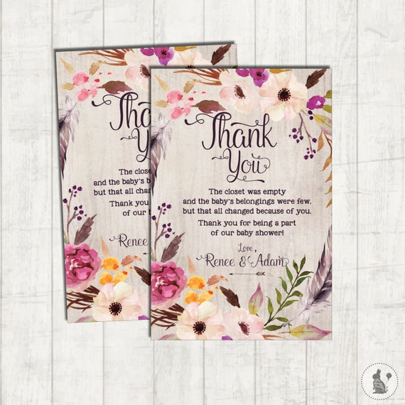 Bohemian Thank You Card Rustic Boho Baby Shower Printable Thank You