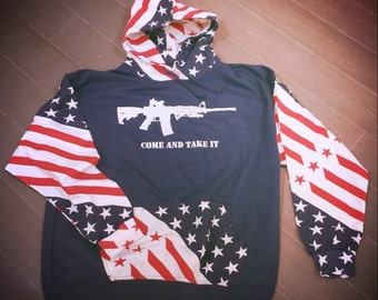 Come And Take It-Molon Labe -AR-15 American Flag Hoodie-Classic Fleece With Americana-USA Flag Style-2nd Amendment-The 3 Percent