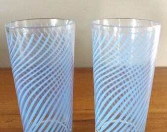 Vintage Juice Glasses - Blue Spiral Midcenury Juice Cups - Set of 2 - Short Breakfast Glasses