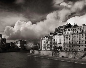 Saint-Louis island, old Paris, France, Notre-Dame and the City island, Seine quaysides, old parisian buildings, black & white photography