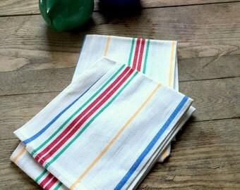 Vintage Linen Dish Towels; Multi-color stripes