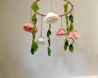 Baby Nursery Flower Mobile with Felt Flowers