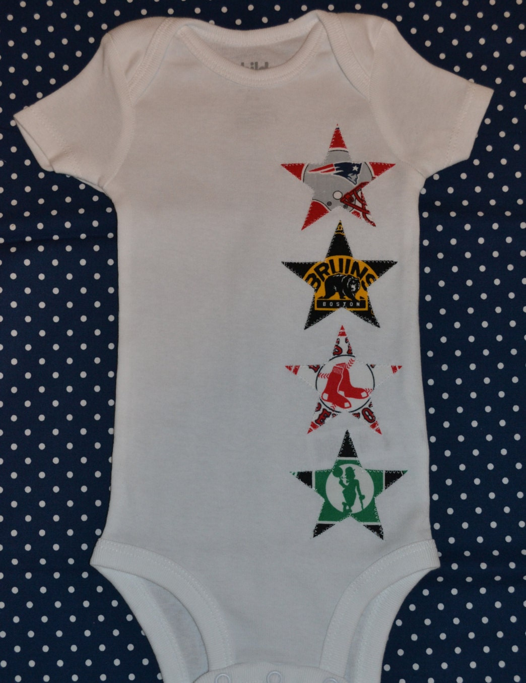 Set Of Four Stars Boston Sports Teams Baby Star Onesie With