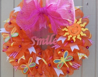 Mesh Wreath, Summer Mesh Wreath, Spring Mesh Wreath, Summer wreath, Spring Wreath