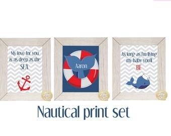 Nautical 3 prints custom name set, ocean nursery, whale nusery, baby shower gift, baby boy nursery, beach nusery, boat nursery