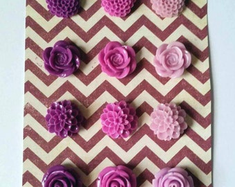 Shades of Purple Flower Magnets (Set of 12)