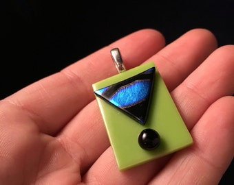Green Dichroic Glass Pendant- J1010