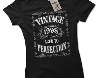 Vintage 1998 18th Birthday Present Ladies Premium Black T-Shirt Choice of 8 Colours Small to 2XL
